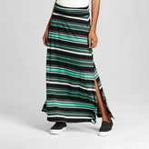 Merona Women's Striped Maxi Skirt Green/Grey/Black Stripe