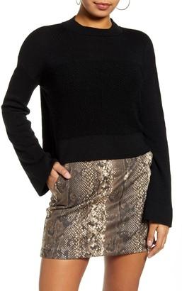 Leith Mock Neck Bell Sleeve Crop Sweater