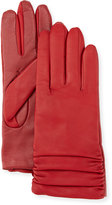 Neiman Marcus Ruched Leather Tech Gloves, Cherry