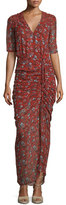 Veronica Beard Mariposa Silk Ruched Printed Maxi Dress, Rust Floral
