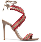 Aquazzura Latin Lover Studded Fringed Suede And Leather Sandals - Red