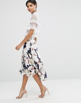 Asos Midi Skirt with Splices in Oversized Floral Print
