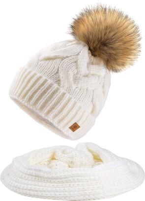 MFAZ Morefaz Ltd Set Scarf & Hat Mohair Wool Women Winter Beanie Hat Worm Neck Knitted Hats Fleece Pom Pom (Ecru Set Hat&Scarf)