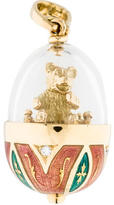 Faberge Enamel Diamond Bear Egg Pendant