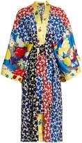 DURO OLOWU Nina contrast-panel silk and crepe kimono dress