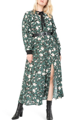 ELOQUII Print Side Slit Long Sleeve Maxi Dress