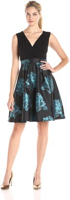 SL Fashions Women's V Neck Printed Fit and Flare Party Dress