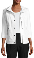 Misook 3/4-Sleeve Techno Snap-Front Jacket, White/Black, Plus Size