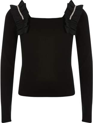 River Island Girls Black ruffle square neck cropped top