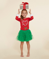 Dollie & Me Red & Green Reindeer Skirt Set & Doll Outfit - Girls