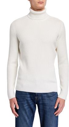 Stefano Ricci Men's Mini-Cable Cashmere-Silk Turtleneck Sweater