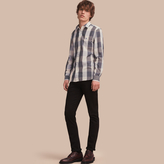 Burberry Oversize Gingham Cotton Linen Shirt