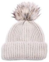 Topshop Women's Faux Fur Pompom Beanie - Grey