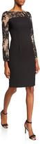 Carmen Marc Valvo Crepe Sheath Dress with Embellished Long Sleeves