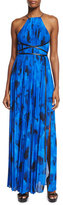 Michael Kors Sleeveless Floral-Print Pleated Gown, Lapis