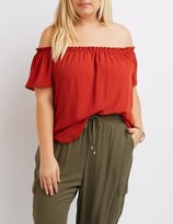 Charlotte Russe Plus Size Fluttery Off-The-Shoulder Top