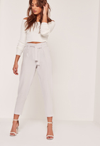 Missguided Petite Pleated Waist Tie Belt Cigarette Trousers Grey