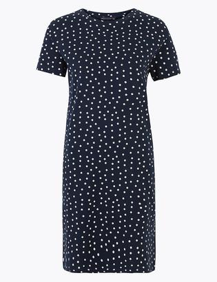 Marks and Spencer Pure Cotton Polka Dot Mini T-Shirt Dress