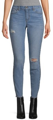 Scoop Ankle Skinny Jean with Leopard Stripe Women's