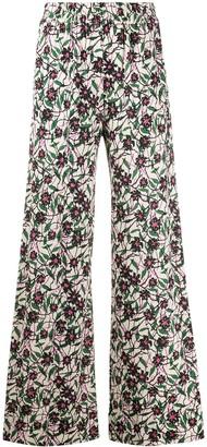 La DoubleJ x Mantero Scrambled print palazzo trousers