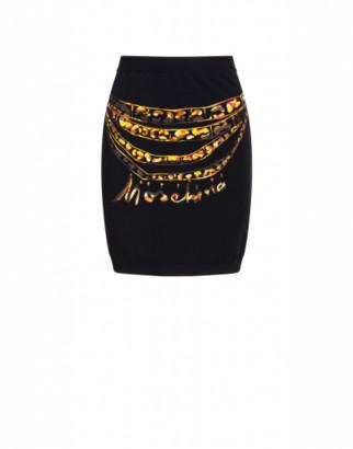 Moschino Viscose Miniskirt Chains Woman Black Size 38 It - (4 Us)