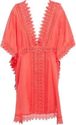 Charo Ruiz Ibiza Alaya Crocheted Lace-paneled Cotton-blend Voile Kaftan