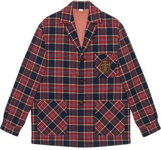 Gucci Checkered wool jacket with emblem