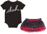 Baby Starters Black & Silver 'Duh' Bodysuit & Black & Pink Tutu Skirt - Infant