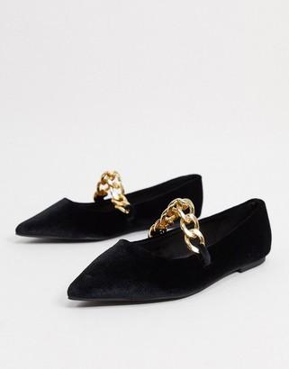 ASOS DESIGN Lise pointed chain ballet flats in black velvet