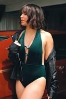 boohoo Rome Boutique Velvet Criss Cross Plunge Swimsuit green