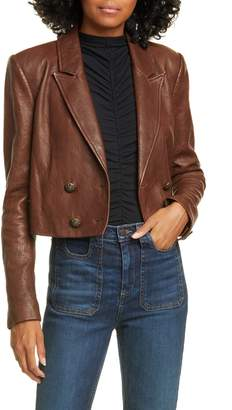 Veronica Beard Theo Double Breasted Crop Leather Jacket