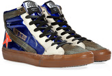 Golden Goose Slide Sneakers in Blue Lamé/Orange Fluo Star