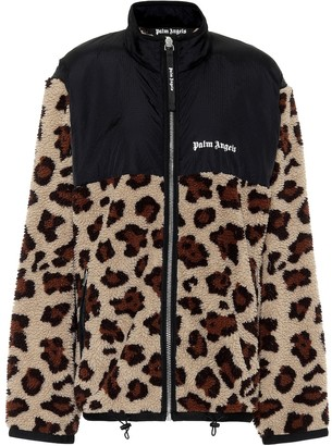 Palm Angels Leopard-print fleece jacket
