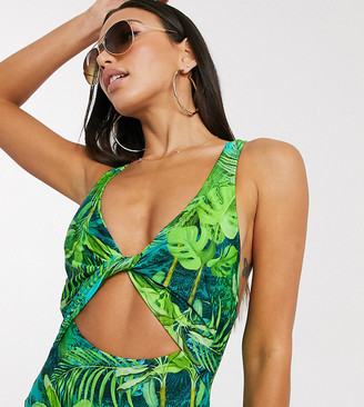 ASOS DESIGN tall twist front cut out swimsuit in exotic palm print