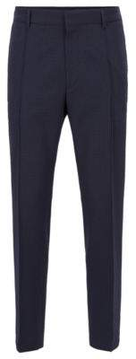 BOSS Cropped relaxed-fit trousers in washable checked seersucker