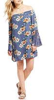 Sequin Hearts Floral-Print Off-The-Shoulder Crochet Bell-Sleeve Shift Dress
