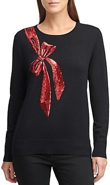 DKNY Sequin Bow Crewneck Sweater