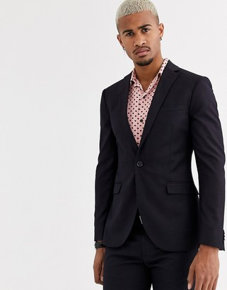 Topman super skinny suit jacket in black and dark burgundy