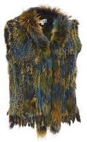 Wilsons Leather Womens Plus Size Plush Fur Multicolor Vest 1X Multi-Colored
