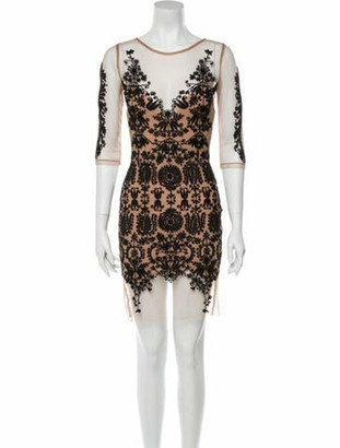 For Love & Lemons Lace Pattern Mini Dress Black