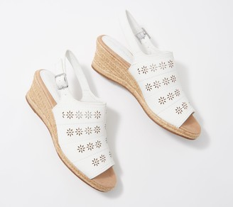 Easy Street Shoes Perforated Espadrille Wedges - Joann