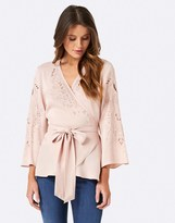 Forever New Cutwork Wrap Blouse