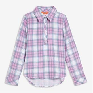 Joe Fresh Kid Girls' Plaid Woven Shirt, Lilac (Size M)