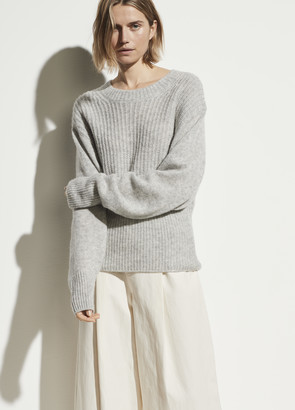Vince Mixed Stitch Dropped Shoulder Pullover