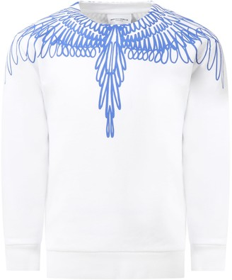Marcelo Burlon County of Milan White Sweatshirt For Kids With Iconic Wings