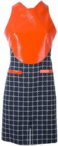 Courreges contrast panel grid print dress