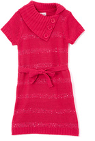 Pink Angel Cherry Pink Sequin Tie-Waist Split-Neck Dress - Girls