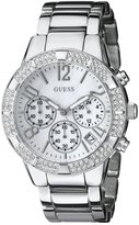GUESS GUESS? Women's U0141L1 Dazzling Silver-Tone Sporty Crystal Chronograph Watch