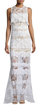Elie Saab Sleeveless Lace Popover Gown, Ivory