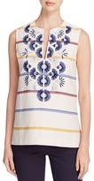 Tory Burch Avery Embroidered Stripe Sleeveless Tunic